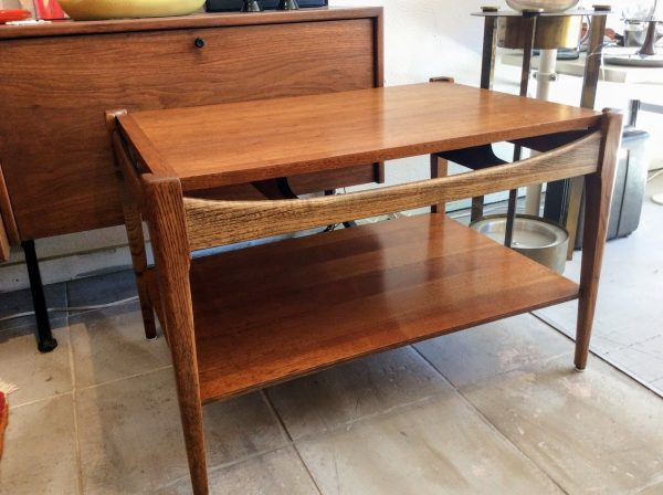 mid century danish modern side table by bassett