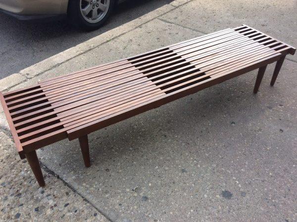 Mid Century Modern Brown Saltman Expandable Slat Bench Coffee Table C1960s